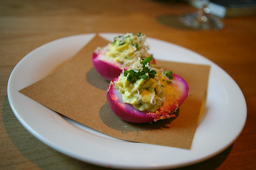Beet-pickled devilled eggs