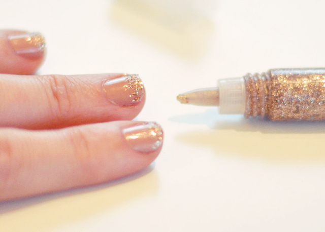 nails+nude with smokey quartz glitter glue from martha stewart