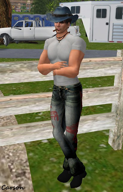 Hudson's Clothing Co. - Denim N Bead Set  ---  J.Shawn Creations - Grey T-Shirt ---   PEER Style - Azteca Jeans   ---  Urban Bohemian - Timber Boots