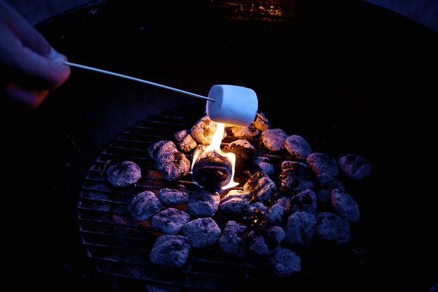 toasting peach-sized marshmallows