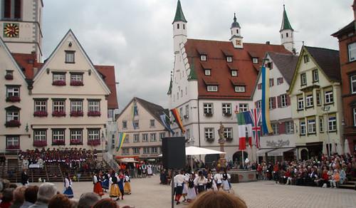 """The marketplace of Biberach during the """"Biberacher Schüzenfest"""""""