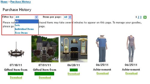 The Sims 3 Store - Purchase History Filter