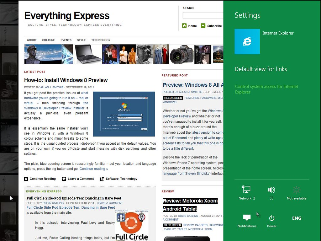 Windows 8 Internet Explorer 10 Metro Sharing