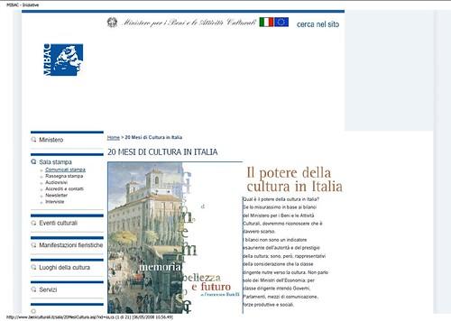 Rome, The Imperial Fora Project (1998-2011) - Documents [in PDF]: Min. F. Rutelli, 20 Mesi di Cultura in Italia, MIBAC (04/2008). by Martin G. Conde