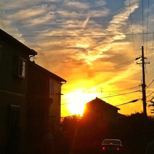 帰り道にて…。  今日も一日、お疲れさまでした。 #sunset #iphonography #instagram