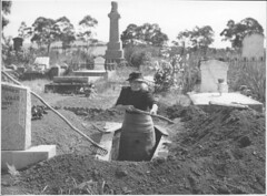 Josephine Smith digging a grave at the Drouin ...