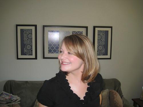 new haircut-side swept bangs