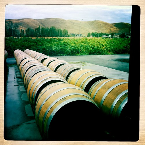 Barrels awaiting wine at Desert Wind Winery