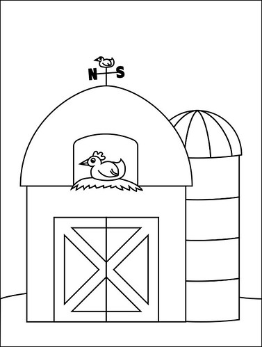 barn coloring page image