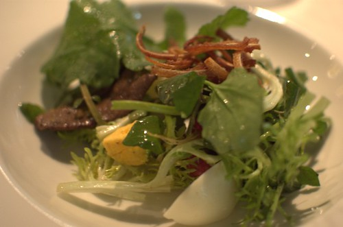 Warm salad of dried pig's liver, egg & radishes