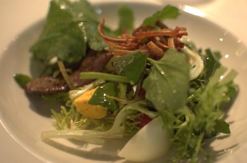Warm salad of dried pig's liver, egg & radishes