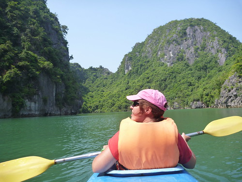Kayaking in a lagoon in Lan Ha bay