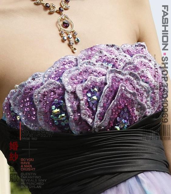 60238紫色人氣新娘裝敬酒服大碼晚禮服結婚禮服婚紗禮服晚裝