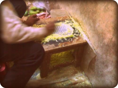 Grating mangoes