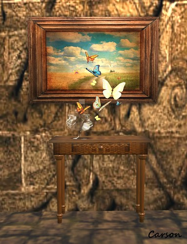 EBDesign - Fragile Console Table, {meberry} Painting-Flying butterflies