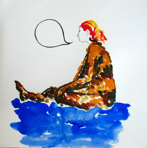 20-minute watercolor of seated nude woman with empty speech balloon