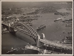 Aerial view of the procession of mail ships, Maloja, Orford, Nieuw Zeeland and Manunda at the official opening celebrations of the Sydney Harbour Bridge, 19 March, 1932