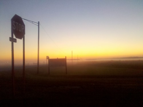 Foggy sunset.  Flossmoor Rd & Central Ave.
