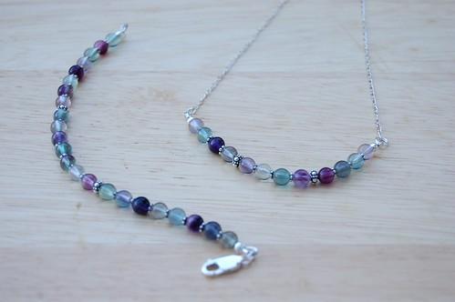 Rainbow Flourite Bracelet and Necklace - Lauren (10/11)
