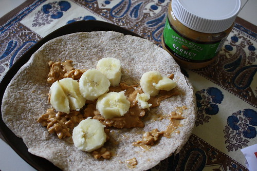 whole wheat tortilla with banana, barney butter crunchy