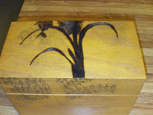Wood Burning A Palm Tree On The Top of The Box by MountainGirl78