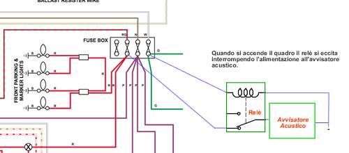 Schema elettrico avvisatore acustico luci