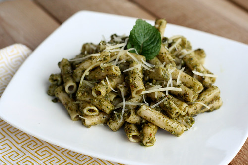 Gluten-free Penne with Mint Pesto