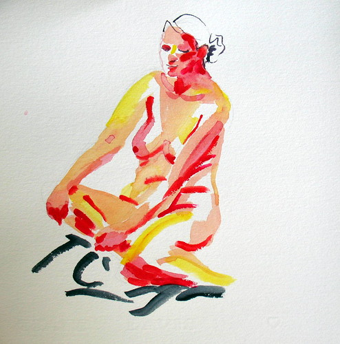 10-minute watercolor of seated nude woman