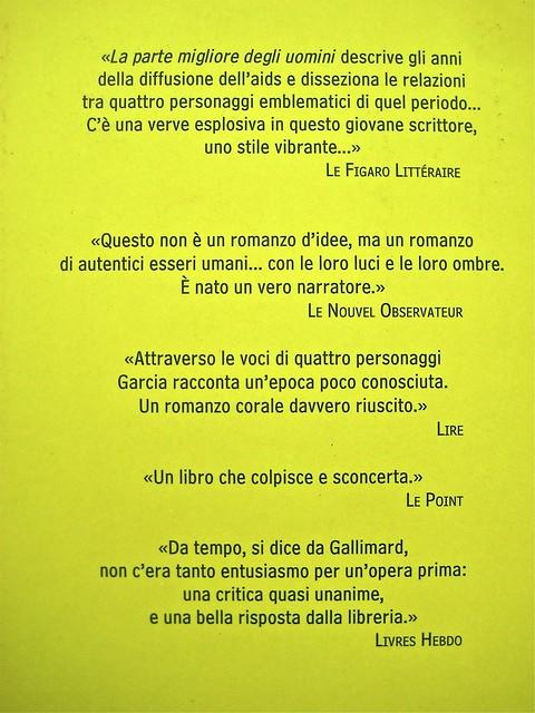 Tristan Garcia, La parte migliore degli uomini; Guanda 2011. Grafica di Guido Scarabottolo; alla cop.: Querelle, di Andy Warhol ©2011 The Andy Warhol Found. for the Visual Arts. Quarta di copertina. (part.), 1