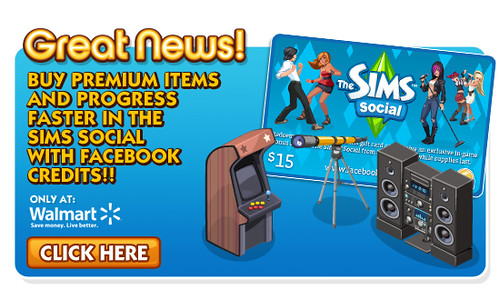 Walmart Sims Social Facebook Credits Card