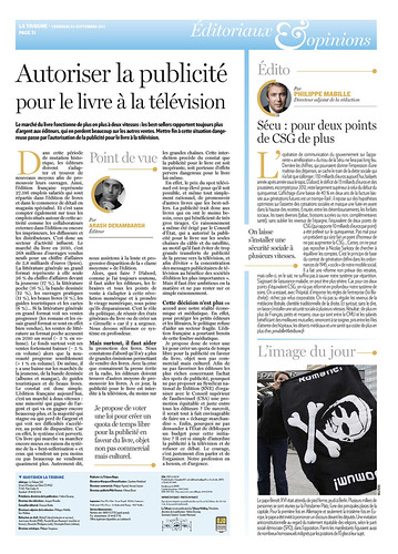 "Tribune de Arash Derambarsh ""Autoriser la publicité pour le livre à la télévision"" (journal La Tribune) by Arash Derambarsh"