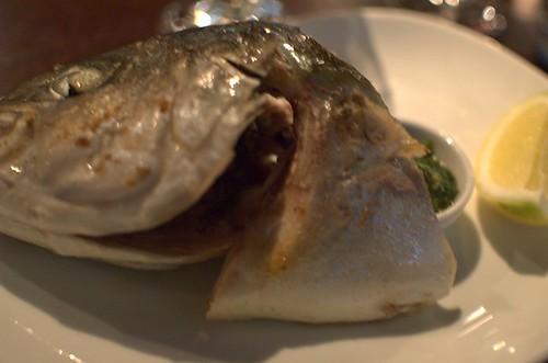 Roast kingfish head & green sauce