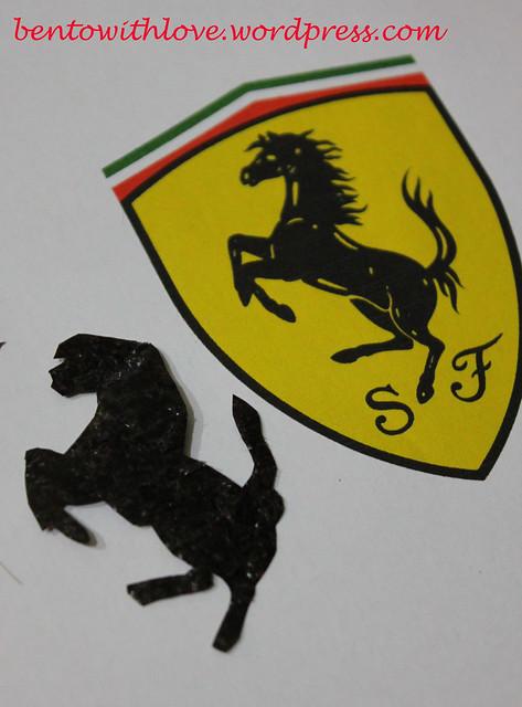 Cut-out horse on Ferrari Crest