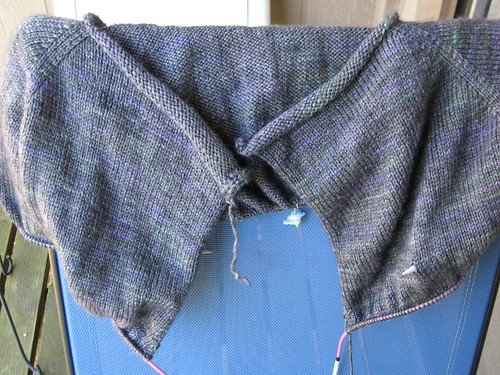 Picture of an in-process knitted object