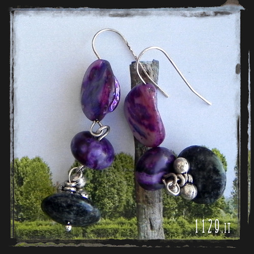 MIVIVE orecchini viola verdi pietre dure purple green gemstones earrings 1129