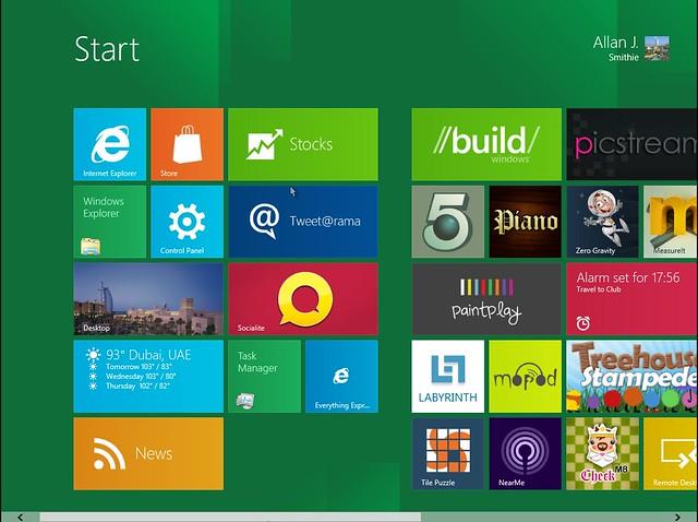 Windows 8 Developer Preview Start screen