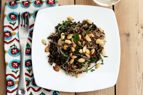 Red Quinoa with Spaghetti Squash, Spinach, Fresh Herbs and Toasted Pumpkin Seeds