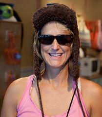 Heidi models a hat