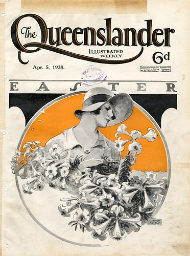 Illustrated front cover from The Queenslander, April 5, 1928