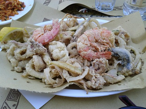 Fritto misto, Mixed fried plate of fish and vegetables, Marina Romea, Ravenna, Italy