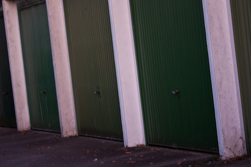 green garage doors
