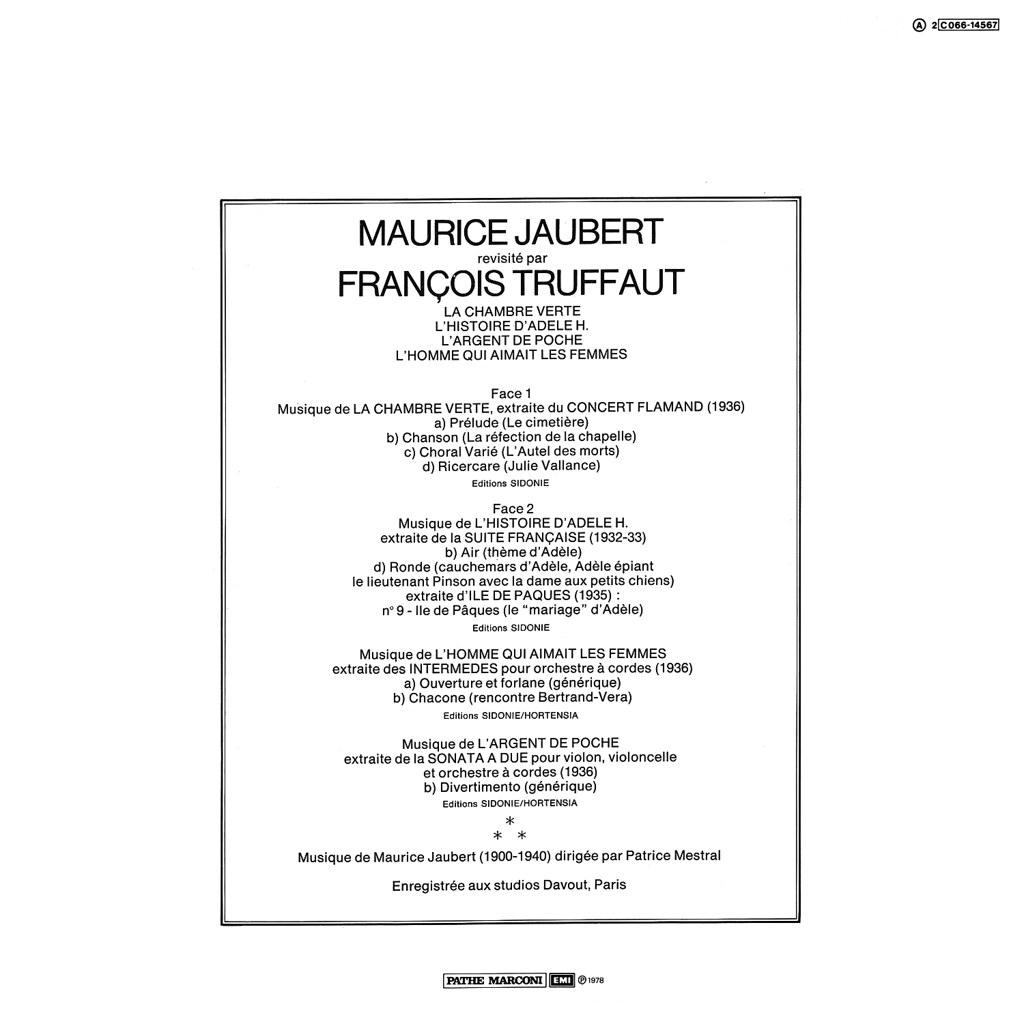 Maurice Jaubert revisité par Francois Truffaut