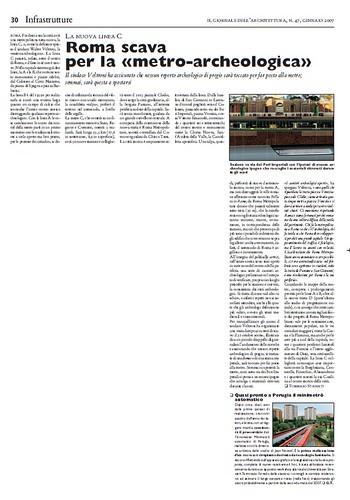 Rome, The Imperial Fora Project (1998-2011) - Documents [in PDF]: TOMMASO STRINATI, LA NUOVA LINEA C Roma scava per la «metro-archeologica» IL GIORNALE DELL'ARCHITETTURA, N. 47, GENNAIO 2007. by Martin G. Conde