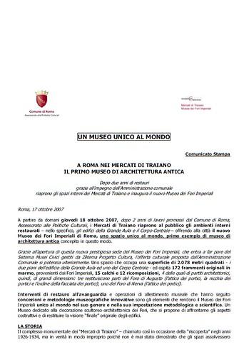 Rome, The Imperial Fora Project (1998-2011): Documents [in PDF] - A Roma nei Mercati di Traiano [Museo di Fori Imperiali] - Il Primo Museo di Architettura Antica, Com. di Roma (17/10/2007). by Martin G. Conde