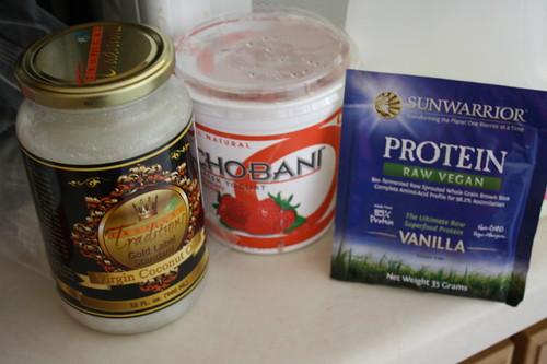 Tropical Traditions coconut oil, chobani, Sunwarrior Protein Raw Vegan Vanilla