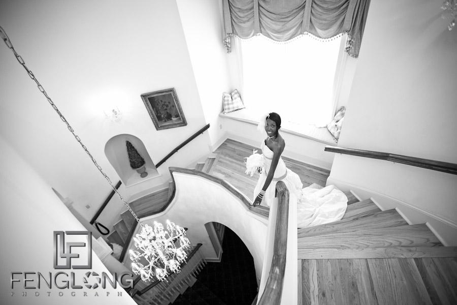 Bride Descends Stairs | Trina + Shawn Wedding | Wimbish House (Atlanta Women's Club) | Midtown Atlanta Wedding Photographer