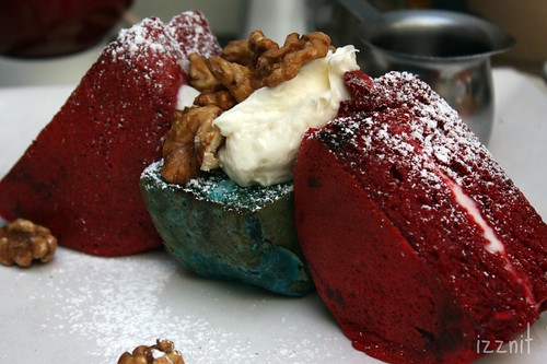 Red and Blue Velvet Pancakes
