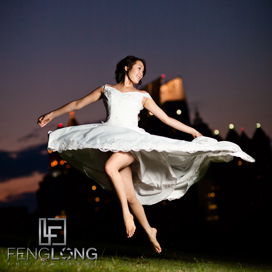 Jumping Bride! | Alice's Bridal Portrait Glamour Session | Piedmont Park | Atlanta Wedding Photographer