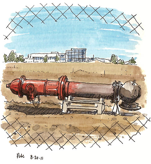 red hydrant, unplanted