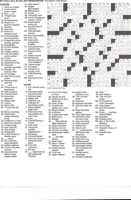NYT Sunday Puzzle - October 2, 2011